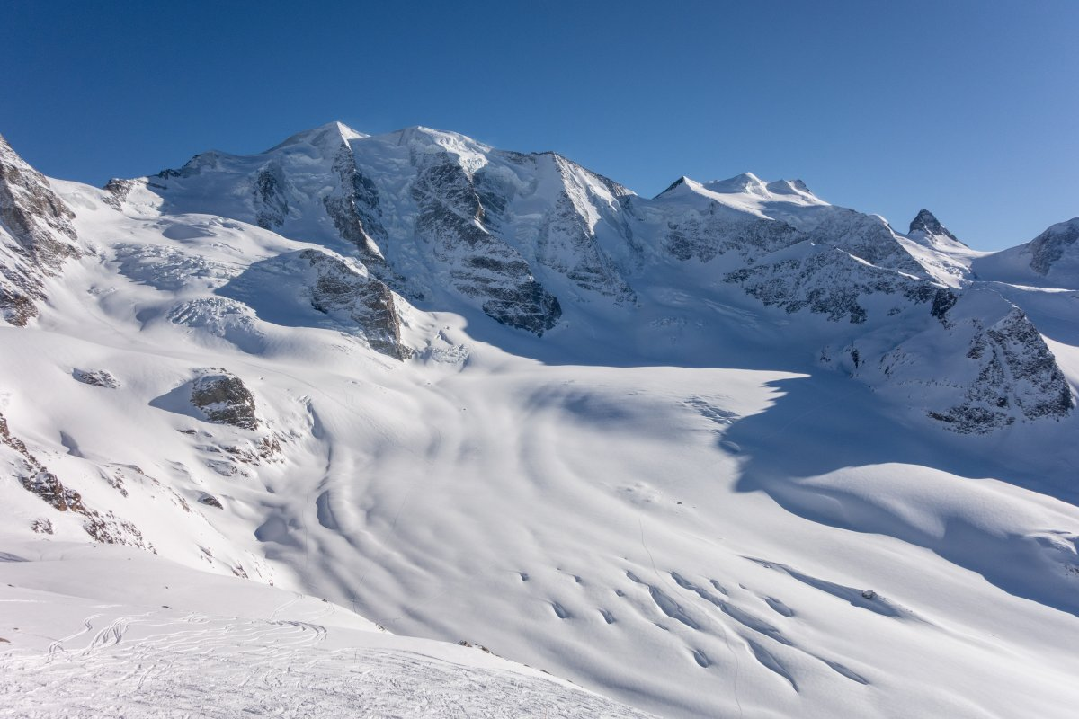 Panorama von der Diavolezza auf die Berninagruppe