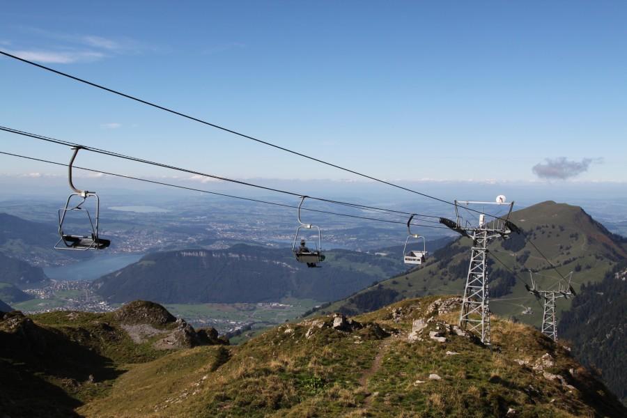 Sesselbahn Alpboden-Haldigrat im Herbst