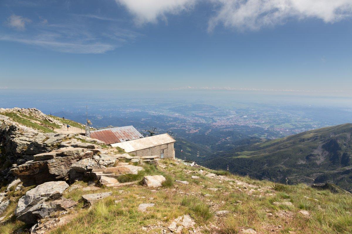 Panorama vom Monte di Mucrone auf die Poebene