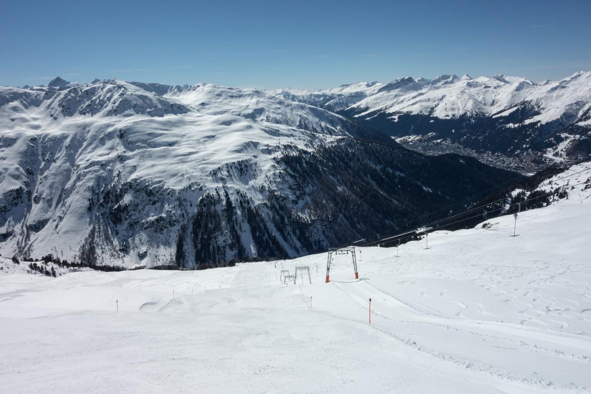 Schlepplift Flüelamäder mit Davos im Tal